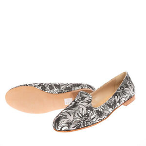 MR & MRS YUO Brocade Loafer Shoes EU 36 UK 3 US 6 Floral Round Toe Made in Italy