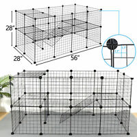 56 Inch Two-Storey Fence Kennel Dog Playpen 36 Panels Pet Play Pen Exercise Cage
