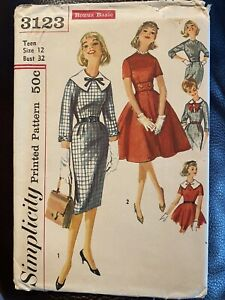 Vintage Simplicity Sewing Pattern 3123 Teen Size 12 Dress Career 50's Prop