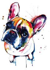 Color Bügeltransfer Bügelbild Applikation bunter/aquarell Bulldogge Hund CBT 021