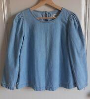 Madewell Womens Blue Cotton Denim Puff Sleeve Swing Shirt Top Blouse Size XS