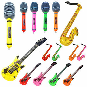 15 PACK Inflatable Instruments Blow Up Fancy Dress Rock Party Guitar Microphone