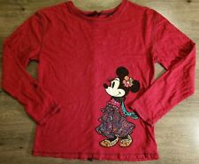 Disney Minnie Mouse Knit Bling T-Shirt Red Long Sleeve RollTab WD Parks Womens M