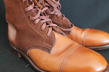 EDWARD GREEN ELITE CHESTNUT COGNAC BEIGE w BROWN SUEDE CAP TOE BALMORAL BOOT 202