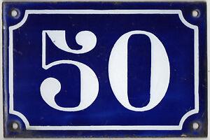 Old blue French house number 50 door gate plate plaque enamel metal sign c1900