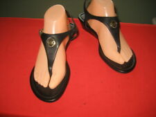 WOMEN'S MICHEAL KORS BLACK TONG WEDGE SANDALS LEATHER SHOES sz 9.5 M