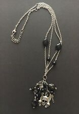 SKULL WINGED NECKLACE TIBETAN SILVER W/ BLACK ONYX STONES & CHARMS