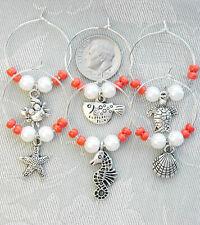 6 Wine Glass Charms Coral Seas Theme Fish Crab Shell Starfish Turtle etc.