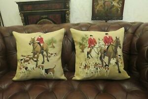TWO QUINTESSENTIAL ENGLISH FOXHUNTING WITH HORSES TAPESTRY CUSHION COVERS ONLY