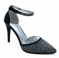 WOMENS BLACK DIAMANTE DRESS WEDDING PARTY EVENING PROM POINTY COURT SHOES 3-7