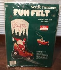 NEW NEEDLE TREASURES CHRISTMAS Santa's New Car STOCKING KIT 04023