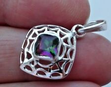 Superb Iridescent Sterling Silver and Mystic Topaz Pendant