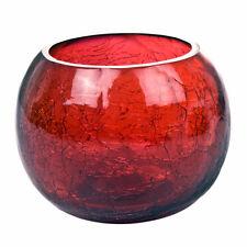 Red Fishbowl Crackle Glass tealight portacandele