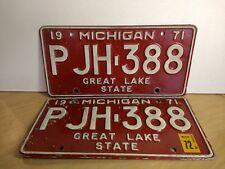 1971 or 1972 Michigan Passenger Car License Plates - Set of 2 - PJH-388