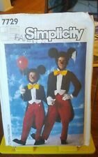 Vintage Simplicity 7729 Disney Mickey Mouse costume Adult sz med 36-38 NEW
