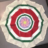 "Vtg Hand Crocheted 17"" Rd Doily Colorful Pinwheel Design Wavy Mid Century EUC"