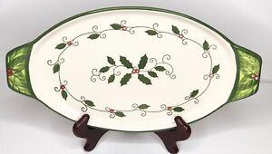 """Temp-tations By Tara Stoneware Christmas """"Cardinal"""" Holiday 13"""" Serving Dish"""
