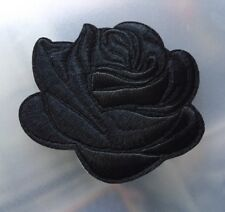 """High Quality 3D Black Rose Flower Iron/Sewn On FULL Thick Embroidered Patch (3"""")"""