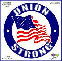Union Strong American Flag Decal Sticker, 4 Inch, Patriotic Union, Laminated.
