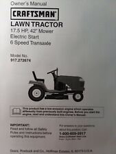 """Sears LT1000 Craftsman 6sp 17.5 42"""" Lawn Tractor Owner & Parts Manual 917.272674"""