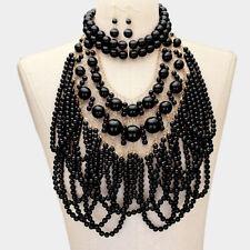 LUXE Statement Gold Black Pearl Bib Choker 2 Piece Necklace Set Rocks Boutique
