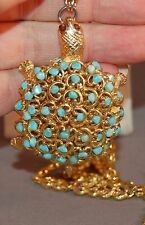 Swoboda Signed Figural Turtle Necklace w/Turquoise Colored Beads! Gorgeous Chain