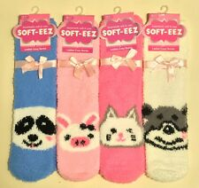 4 PAIR Soft & Cosy Ladies Lounge Warm Feather Fluffy Bed Socks Animal Print
