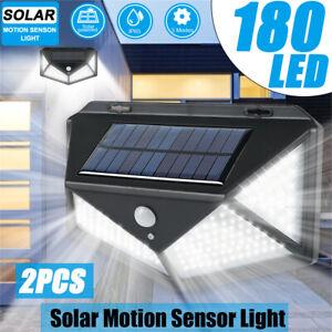 180 LED Solar Walkway Lights 2PCS Security Sensor Lamp Home Outdoor Garden Yard