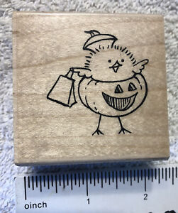 D114 Chick Or Treat Halloween Rubber Stamp Stampendous Calendar Chicks 2004