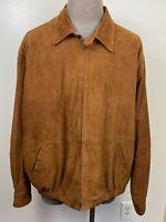 Orvis Men's Brown Suede Leather Coat Jacket Zipper Front Elbow Patches XXL
