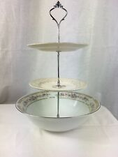 Three Tier Porcelain Serving Tray with Silver Handle And Bowl On The Bottom