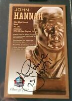 John Hannah Autographed Pro Football Hall of Fame Bronze Bust Card 128/150