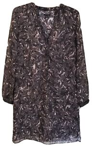 Ann Taylor Womens Size 6 Tunic Dress Long Sleeve Brown Feather Print Leatherette