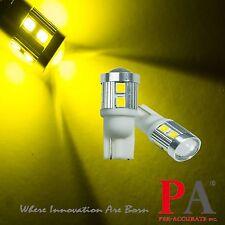2x T10 W5W 168 921 Golden Yellow 2835 10 SMD LED Turn Signal Light Blinker Bulb