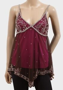 EX CHAINSTORE - BURGUNDY BEAD EMBELLISHED MESH STRAPPY CAMISOLE - SIZES 12