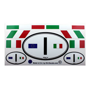 Set of 9 Italian flags & Italy I car country sign Laminated Decals Stickers