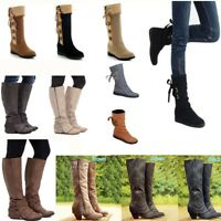 WOMENS MIDI BOOTS LADIES FLAT LOW HEEL KNEE HIGH THIGH STRETCH WINTER SHOES SIZE