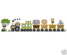 Safari Animal Train Decal Wall Art Mural Transportation Jungle Nursery Stickers