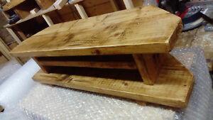 Corner TV Unit Stand Cabinet, Rustic Chunky Solid wood Handmade. Oak wax. 120cm