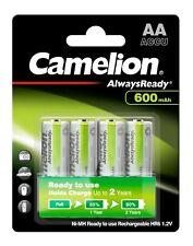 4 x Camelion Solar Akkus Always Ready AA Mignon HR6 1,2V NiMH 600mAh - 1 x 4er