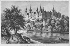 Merseburg, das Schloss, Original-Holzstich von 1884