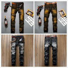 Men Ripped Biker Skinny Jeans Frayed Destroyed Fashion Trousers Pants Size 28-42