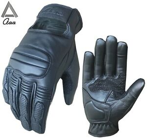 Motorbike Motorcycle Black Gloves Real Leather Pads Protection Touch Screen
