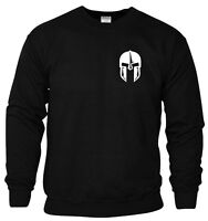Spartan Helmet Sweatshirt Pocket Gym Bodybuilding Fitness MMA Workout Men Top