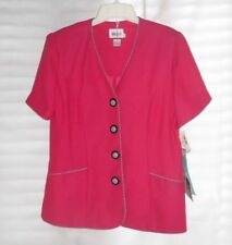 VINTAGE LESLIE FAY PETITE COLLECTIONS BLAZER SUIT JACKET HOT PINK SIZE 14 NWT