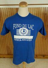 Vintage 80s Fond Du Lac Wisconsin Physical Education Gym Sports T Shirt USA L/M