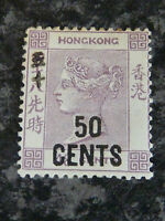 HONG KONG SG49 50C ON 48C POSTCARD STAMP MOUNTED MINT
