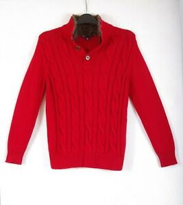 P435/DM Gap Kids Red Cotton Chunky Cable Knit High Neck Jumper age 8-9, 160 cm