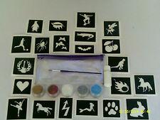 50 pochoirs mixtes dans le sac + paillettes + colle paillettes enfants tatouages