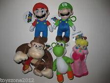 "NEW R@RE Mario Luigi Donkey Kong Yoshi Peach Plush Zipper Coin Clip-On 7"" & 8"""